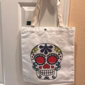 Colorful skull tote, Red